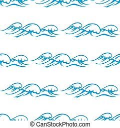 Blue ocean waves seamless pattern - Blue outline seamless...