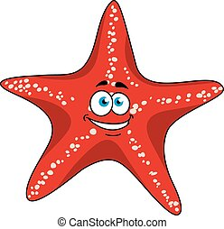 Cartoon tropical red starfish character