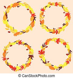 Autumnal leaves wreaths or frames - Autumn leaves wreaths or...