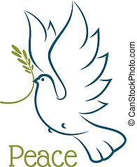 Dove or pigeon with olive branch