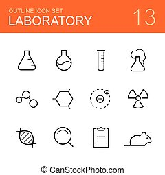 Chemistry laboratory vector outline