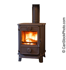 Wood burning stove - Wood burner stove isolated against a...