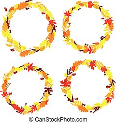 Autumnal leaves frames and borders set - Autumnal leaves...
