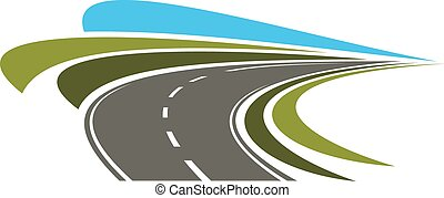 Steep turn of speed road icon with flowing lines of green...