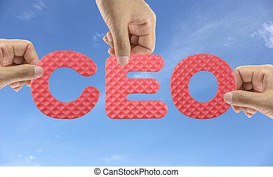 CEO, alfabeto, executivo, mão, oficial, acrônimo, chefe,...