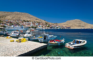 Multi-coloured buildings of Halki Island (Chalki) - Chalki...