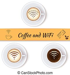 Coffee cups and wifi symbol concept icons, design elements...