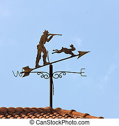 Weather vane with blue sky