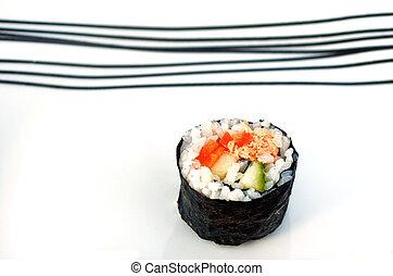 One Makizushi sushi fresh maki roll, served on a plate.