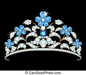 Diadem with a floral design of diamonds and sapphires