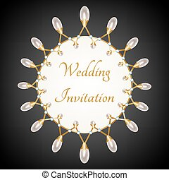 Pearl necklace - Invittion card with pearl necklace with...