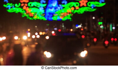 motion of colourful blurred street lights car traffic -...