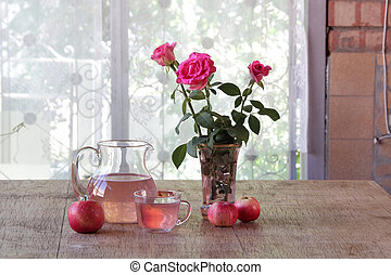Compote from apples in a transparent jug - Still-life with...