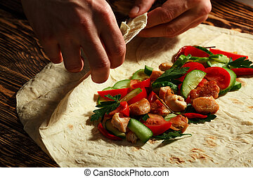 Shawarma - Cooking traditional shawarma wrap with chicken...