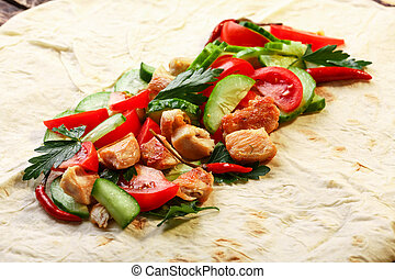 Shawarma - Traditional unfolded shawarma with chicken and...