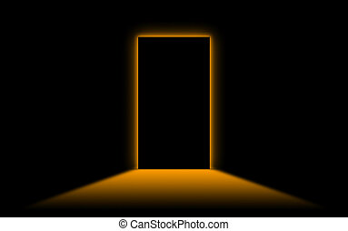 Black door with bright neonlight at the other side - Orange