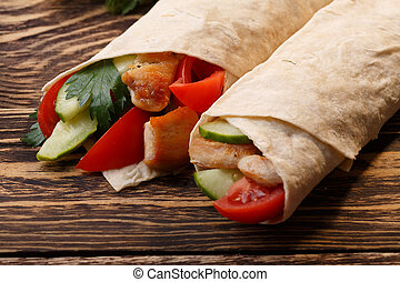 Shawarma - Traditional shawarma wrap with chicken and...