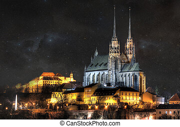 Night city Brno - Historick? %u010D?st m%u011Bsta Brna,...
