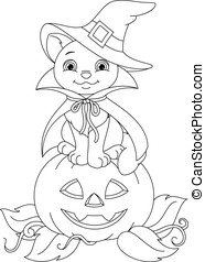 Halloween Cat Coloring Page - Cat witch sitting on a...