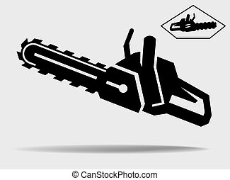 chainsaw vector black icon on a grey background