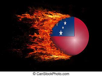 fuoco,  -, bandiera,  Samoa, traccia, segno, scia