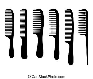 combs - Black silhouettes of different combs, vector