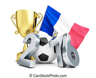 France football 2016, gold cup and flag of France - France...