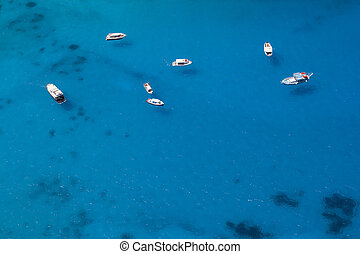Boats Anchored in a Sea Bay - Aerial photo of several boats...