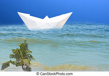 Paper ship in the sea. Symbolizing vacation with cruise ship...