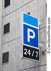 Carpark sign - Sign of a carpark which open 24 hours a day,...