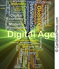 年齡, 概念, 發光, 背景, 數字