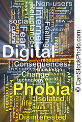 Digital phobia background concept glowing - Background...