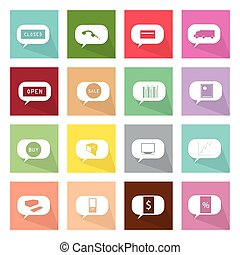 Collection of 16 Thought Bubbles Icons of Online Shopping