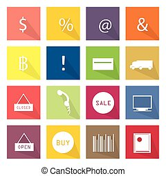 Collection of 16 Business Item Icon - Flat Icons,...