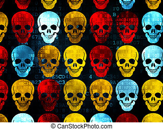 Healthcare concept: Scull icons on Digital background -...