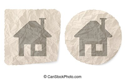 Crumpled slip of paper and a home symbol