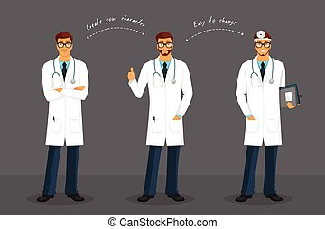 Man doctor in various poses - Vector illustration of Man...