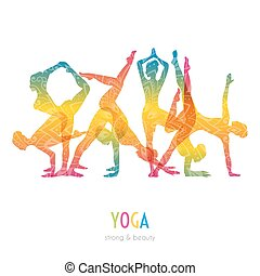 Woman doing yoga asanas - Vector illustration of Woman doing...