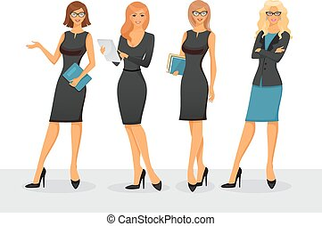 Businesswoman in various poses - Vector illustration of...