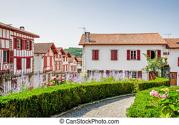 Traditional Basque houses in La Bastide-Clairence -...