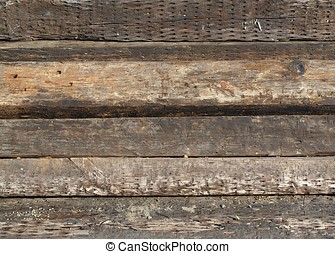 Old Railroad Ties - Old wooden railroad ties or sleepers as...