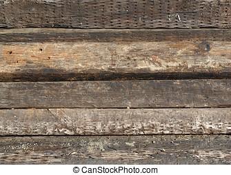 Old Railroad Ties - Old wooden railroad ties or sleepers as...