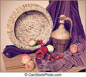artwork vector painting illustration of still life
