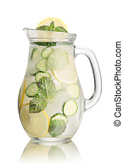 Sparkling cucumber lemonade in a glass pitcher Refreshing...