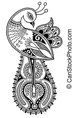 black and white peacock decorative ethnic drawing, vector...