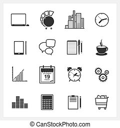 Icons collection of web design objects, business, office and...