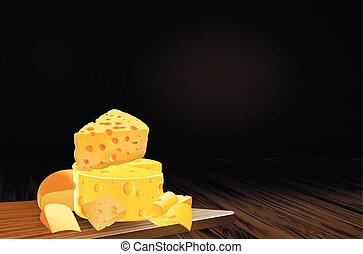 cheeses - A variety of cheeses, vector art illustration of...