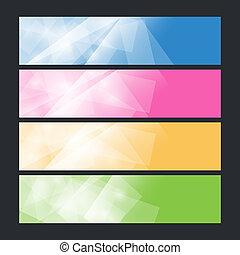 ensemble, coloré, polygonal, bannières,