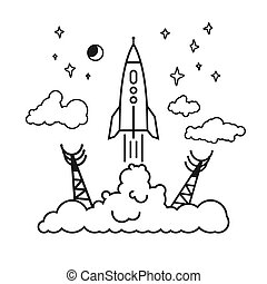 Start of the rocket in clouds - Start of the Rocket from the...