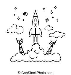 comienzo, de, el, cohete, en, nubes,